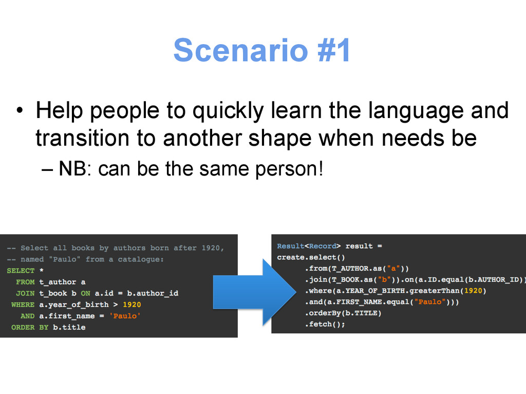 Scenario #1 • Help people to quickly learn the...