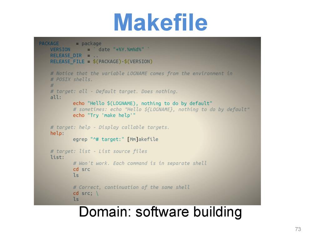 Makefile Domain: software building 73