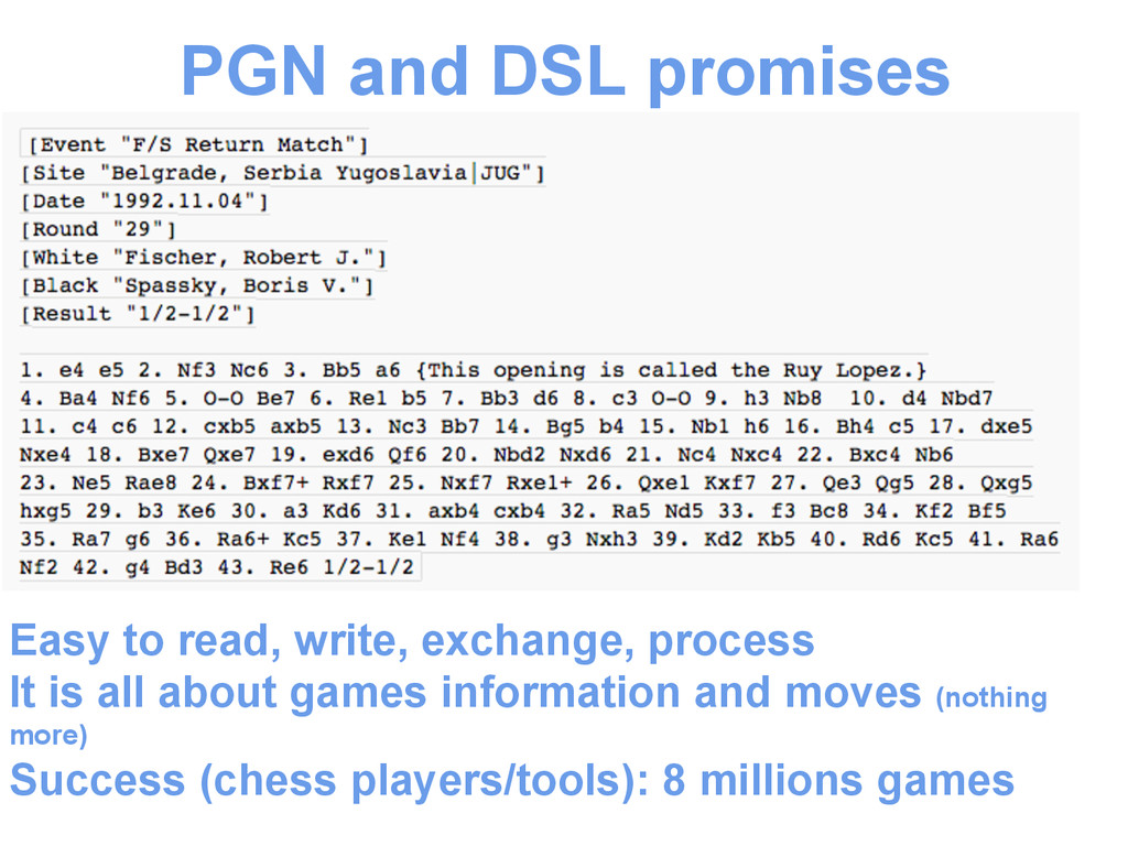 PGN and DSL promises Easy to read, write, excha...