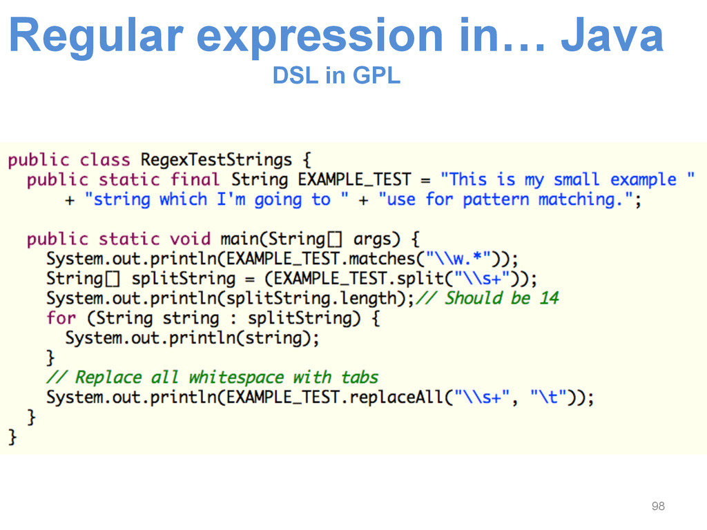 Regular expression in… Java DSL in GPL 98