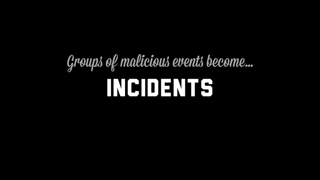 Incidents Groups of malicious events become…