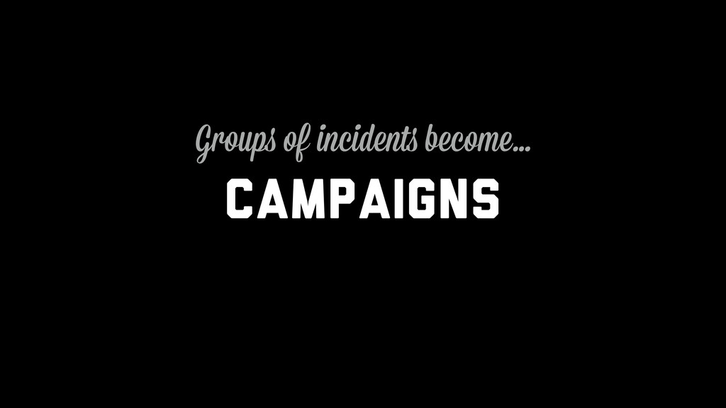 Campaigns Groups of incidents become…