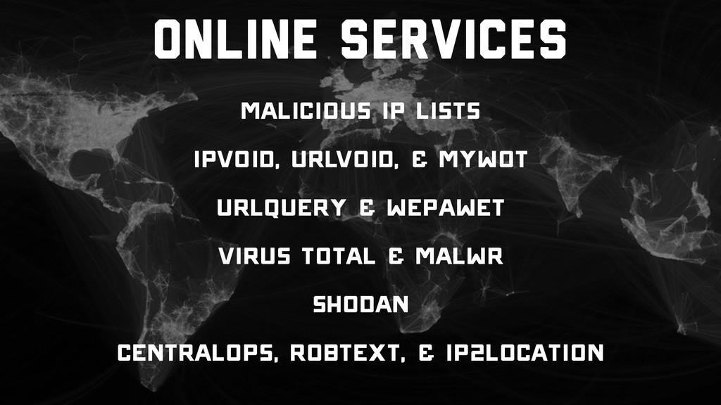 Online Services Malicious IP Lists IPVoid, URLV...