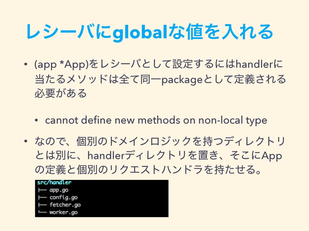 • (app *App)ΛϨγʔόͱͯ͠ઃఆ͢Δʹhandlerʹ ͨΔϝιουશͯಉҰ...