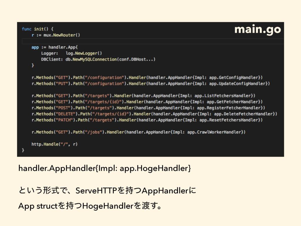 main.go handler.AppHandler{Impl: app.HogeHandle...