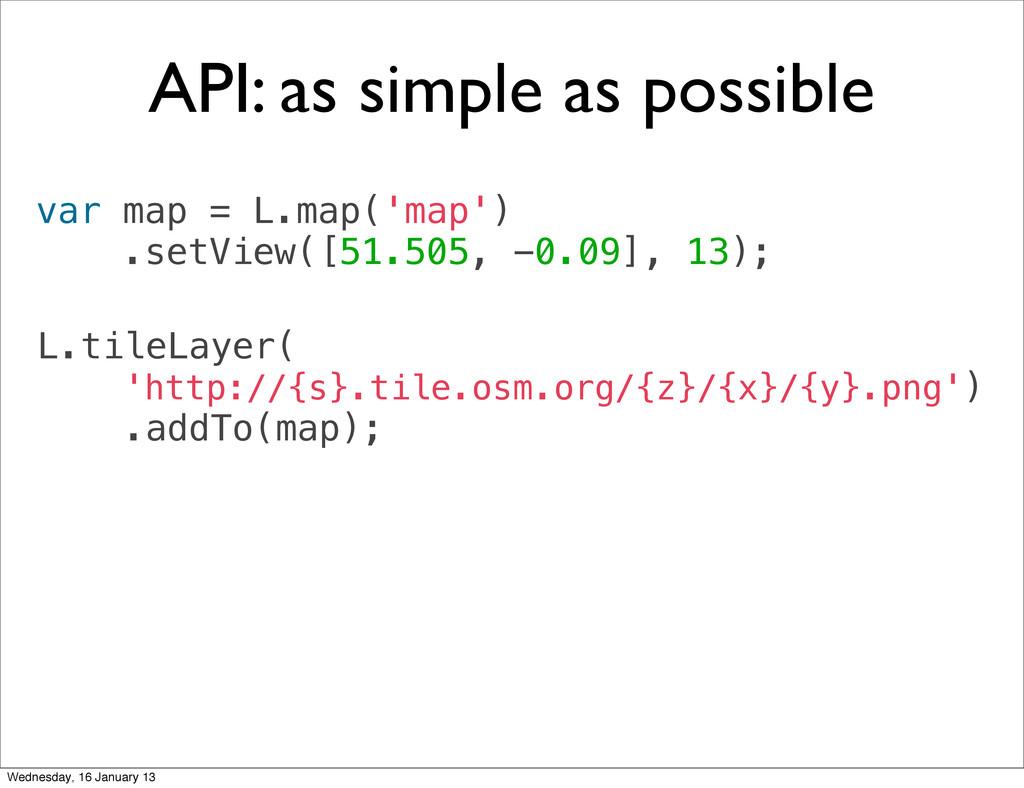 var map = L.map('map') .setView([51.505, -0.09]...