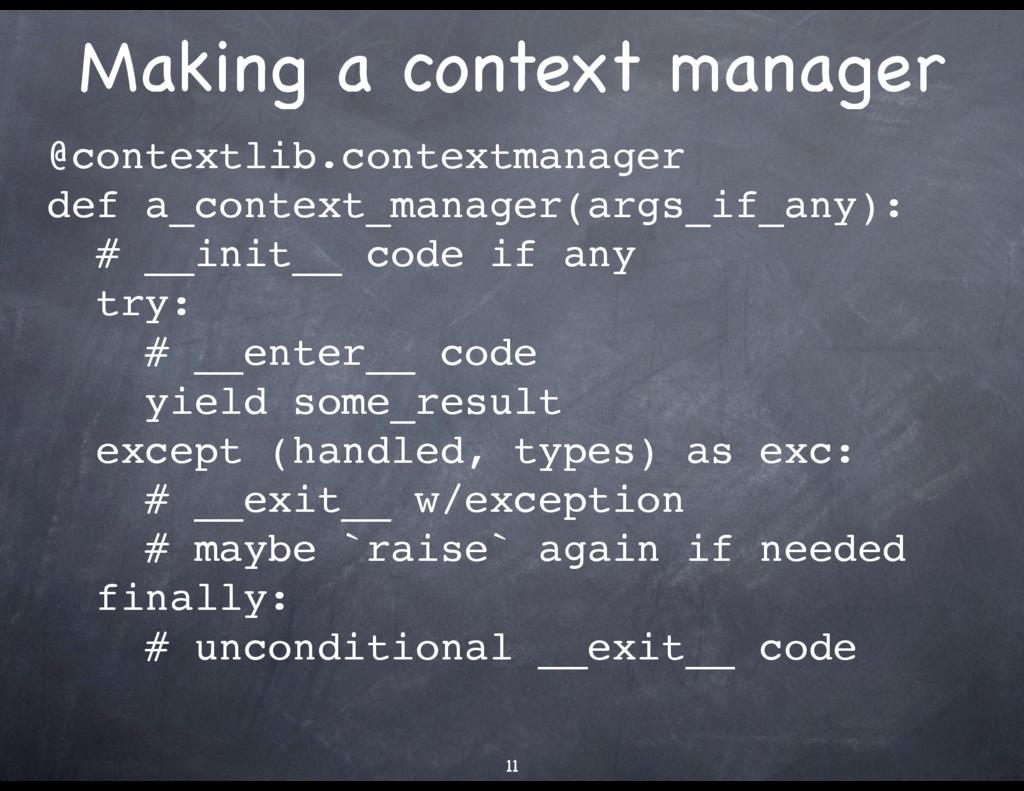 Making a context manager @contextlib.contextman...