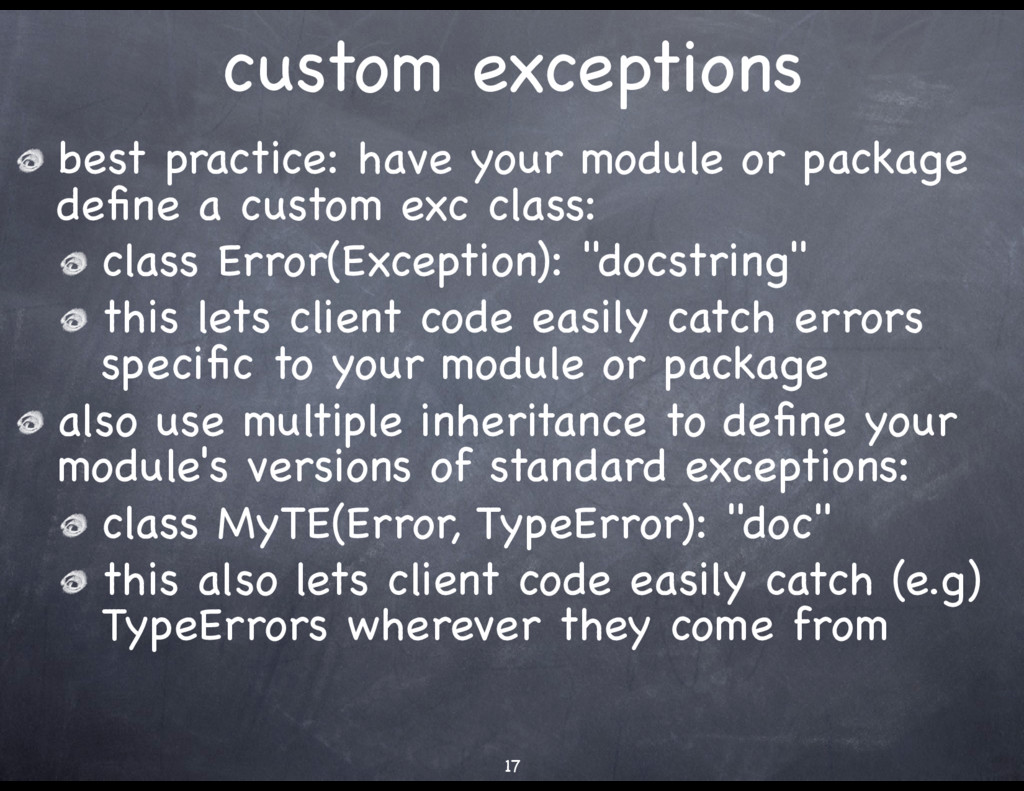 custom exceptions best practice: have your modu...