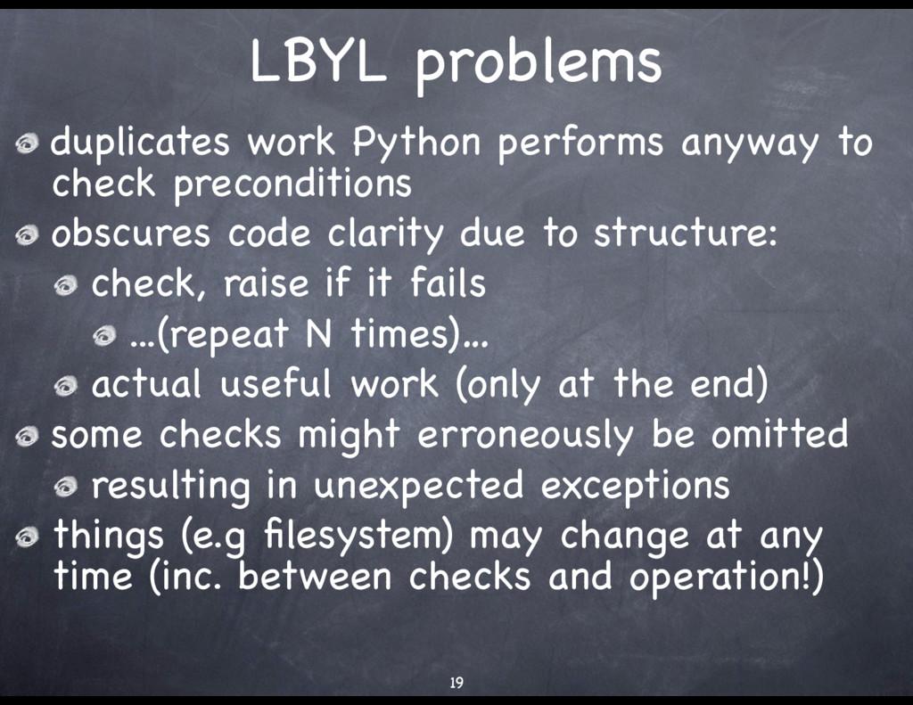 LBYL problems duplicates work Python performs a...