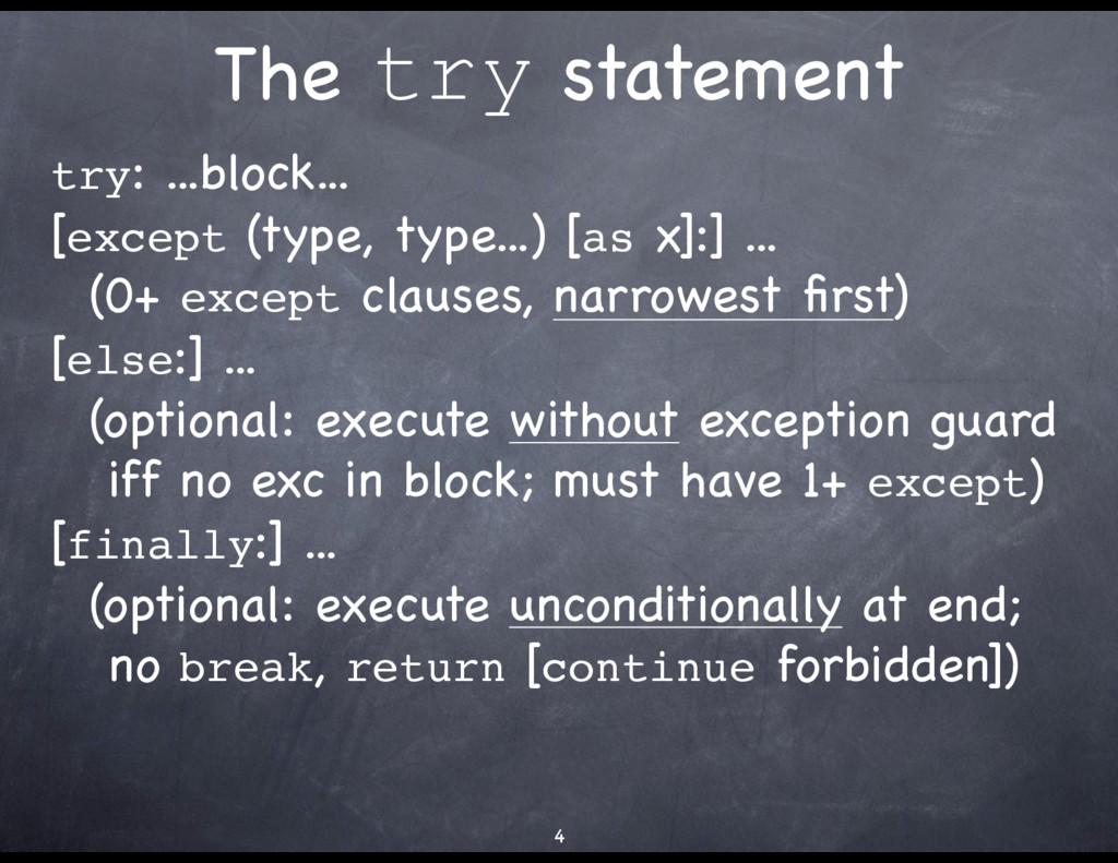 The try statement try: ...block...  [except (ty...