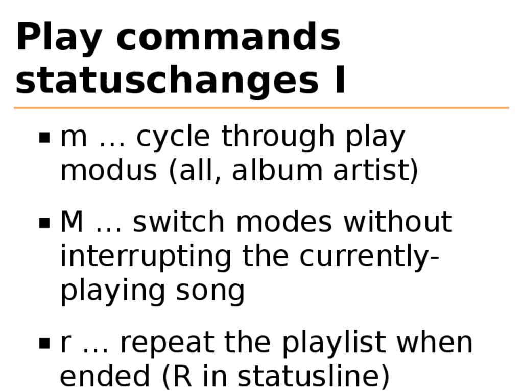 Play commands statuschanges I m … cycle through...