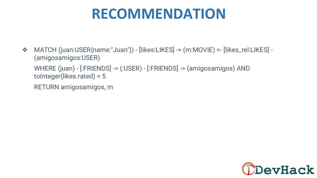 "RECOMMENDATION ❖ MATCH (juan:USER{name:""Juan""})..."