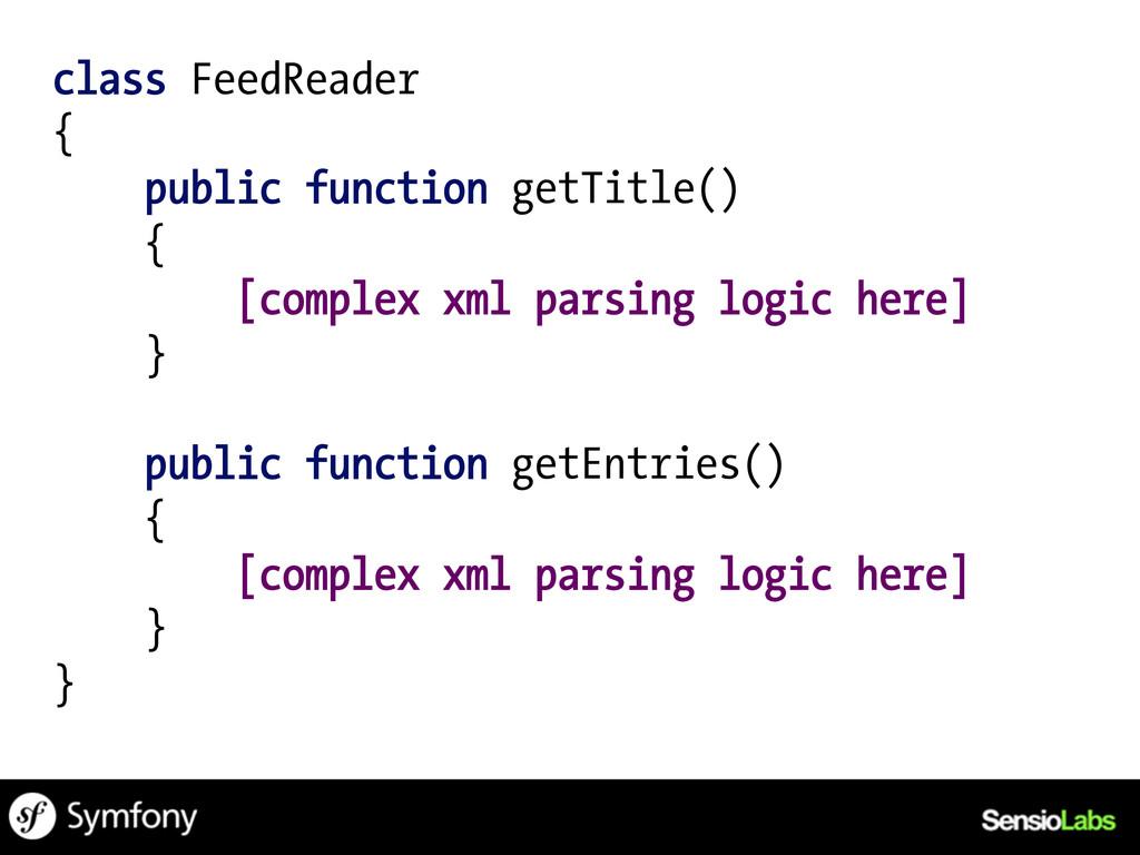 class FeedReader { public function getTitle() {...