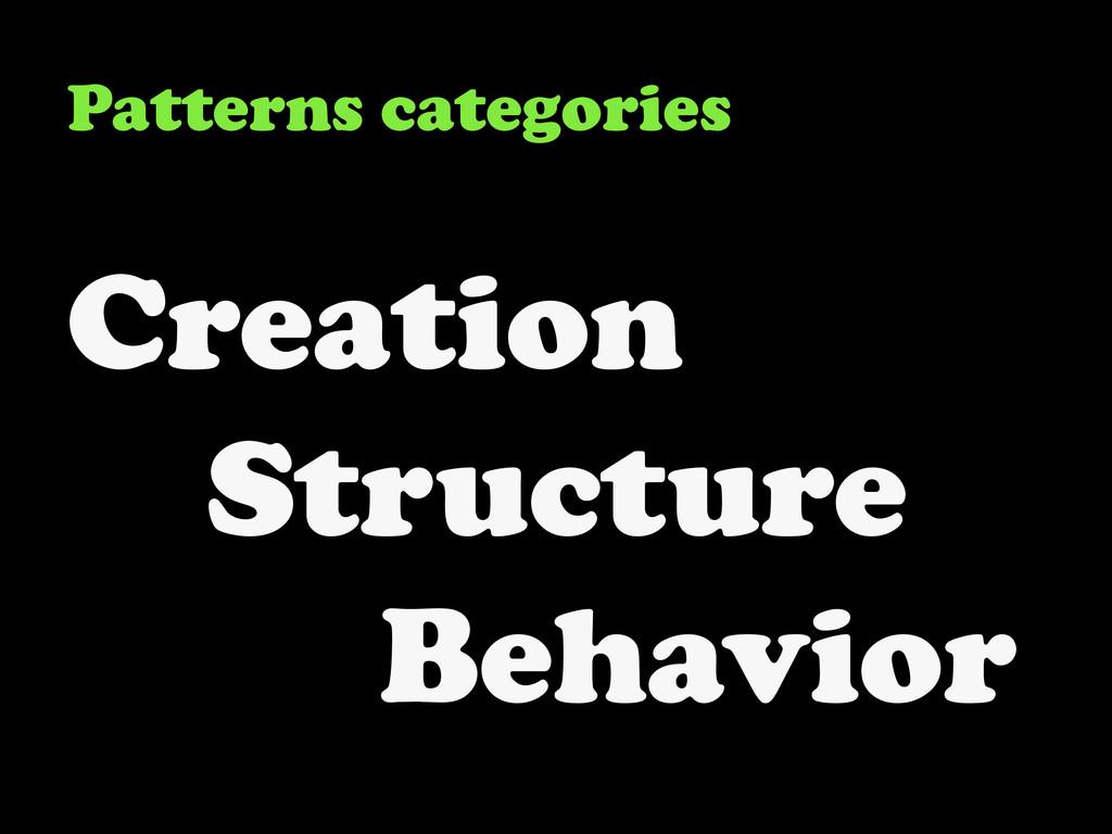 Patterns categories Creation Structure Behavior