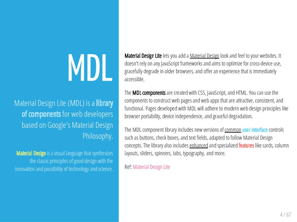 4 / 67 MDL Material Design Lite (MDL) is a libr...