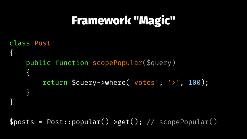 "Framework ""Magic"" class Post { public function ..."