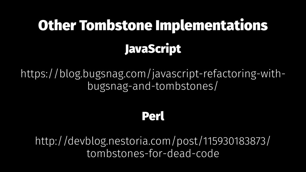 Other Tombstone Implementations JavaScript http...