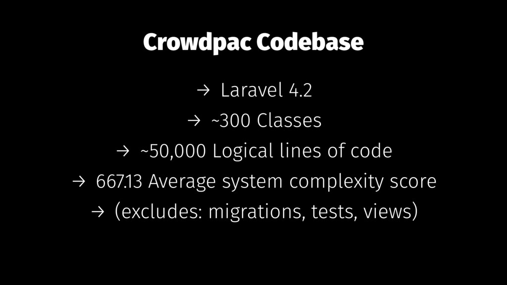 Crowdpac Codebase → Laravel 4.2 → ~300 Classes ...