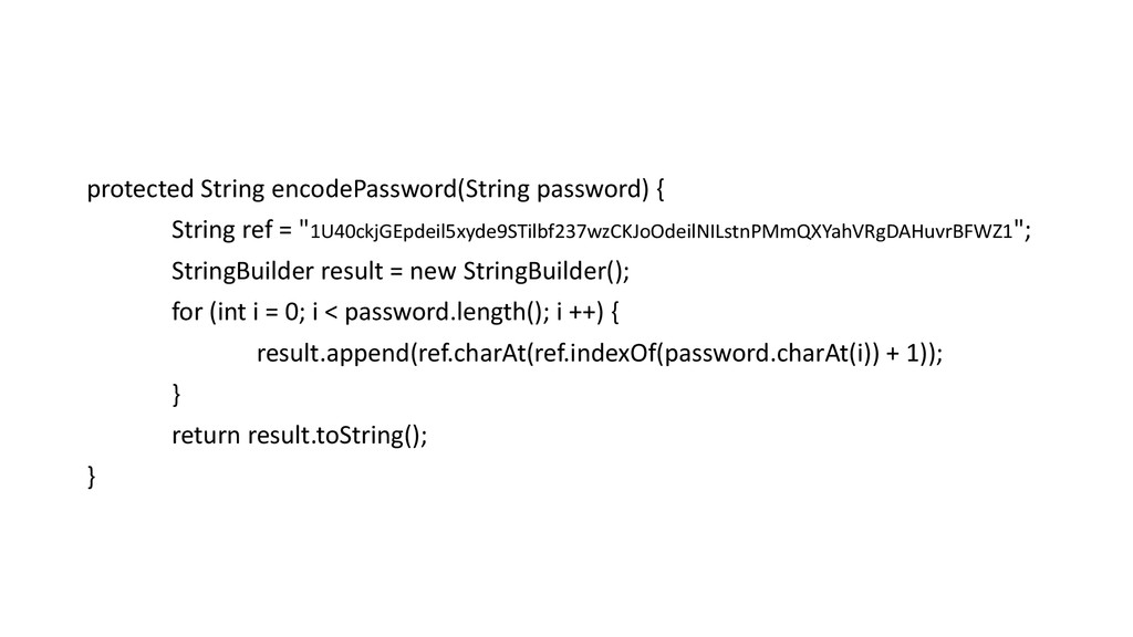 protected String encodePassword(String password...