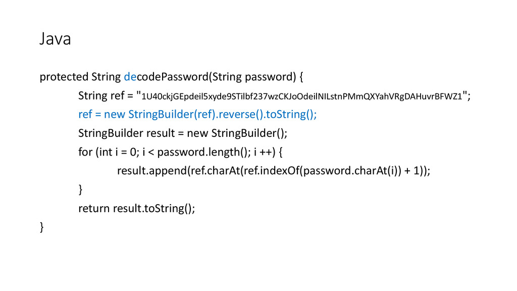 protected String decodePassword(String password...