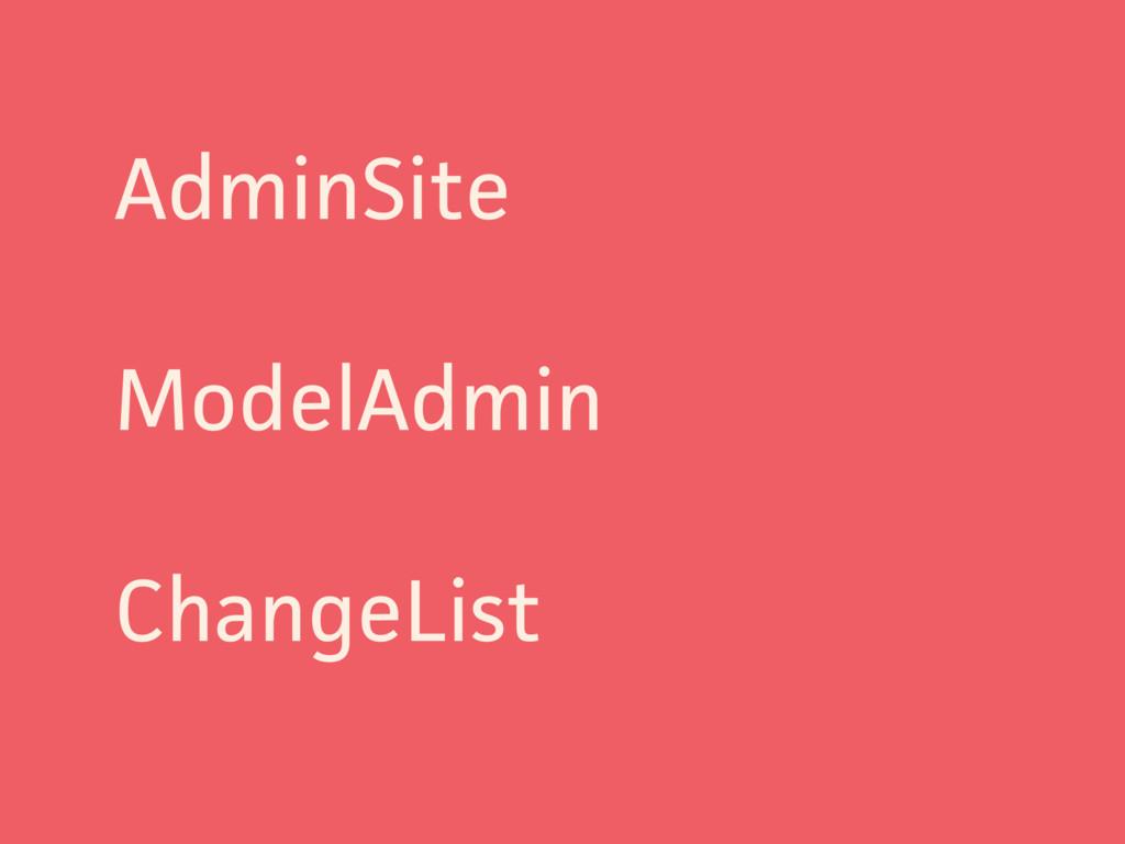 AdminSite ModelAdmin ChangeList
