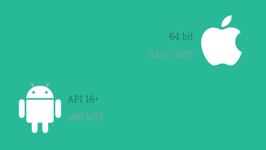 64 bit 32 bit WIP API 16+ x86 WIP On all suppor...