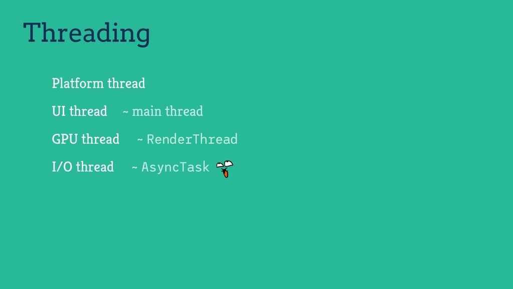 Platform thread UI thread GPU thread I/O thread...
