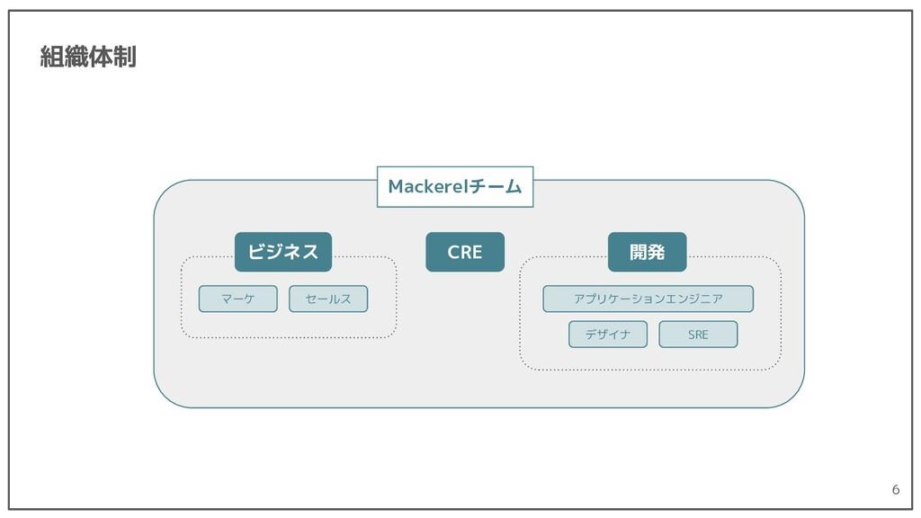 組織体制 6 Mackerelチーム CRE セールス ビジネス マーケ 開発 アプリケーショ...