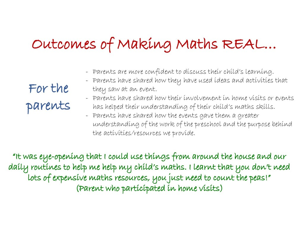 Outcomes of Making Maths REAL… For the parents ...