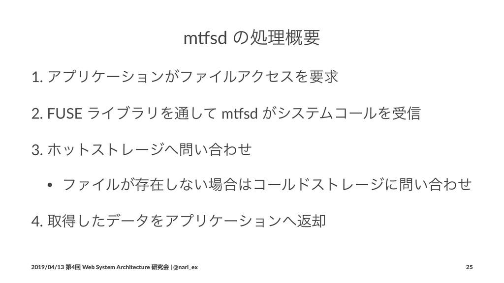 "m""sd ͷॲཧ֓ཁ 1. ΞϓϦέʔγϣϯ͕ϑΝΠϧΞΫηεΛཁٻ 2. FUSE ϥΠϒϥ..."