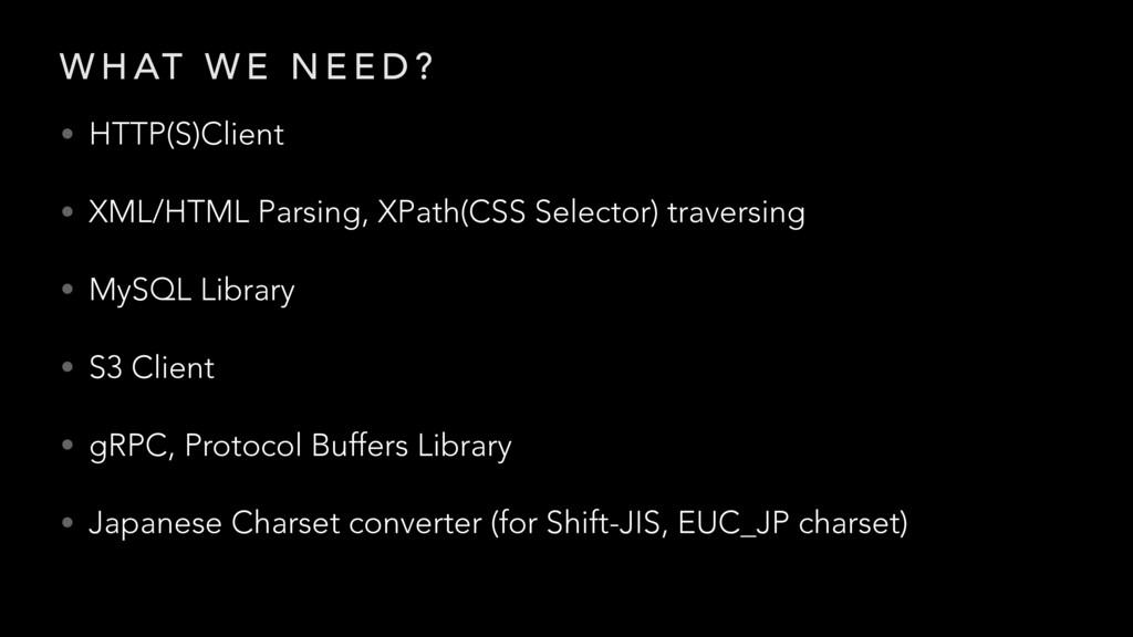 W H AT W E N E E D ? • HTTP(S)Client • XML/HTML...