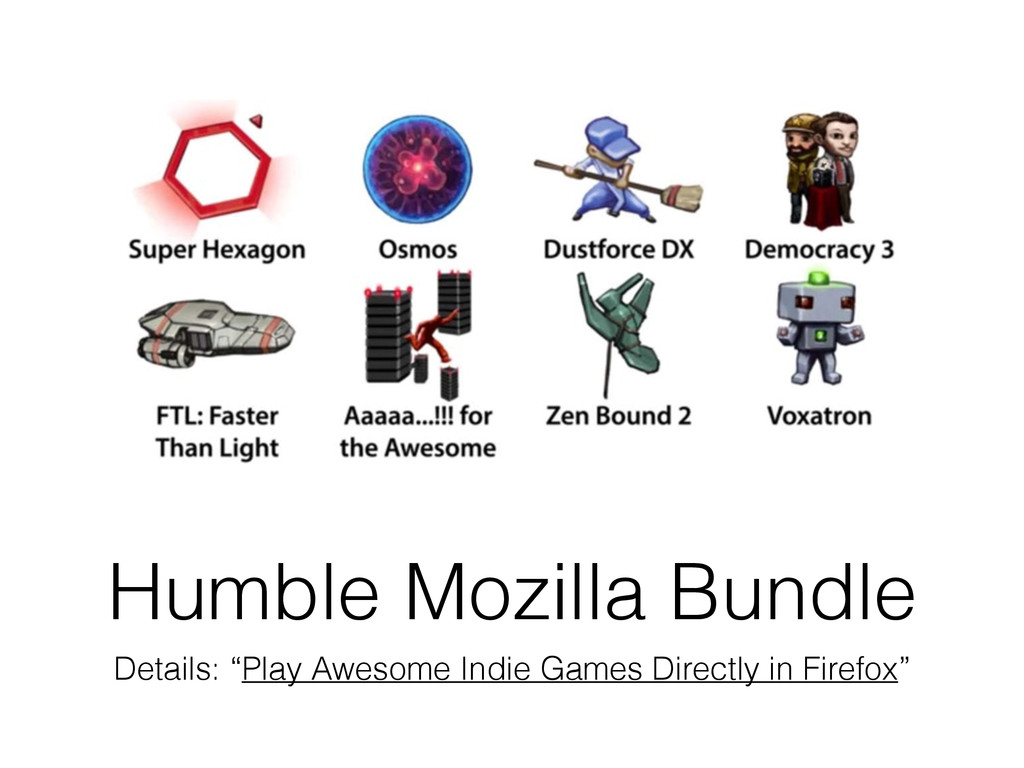 """Humble Mozilla Bundle Details: """"Play Awesome In..."""