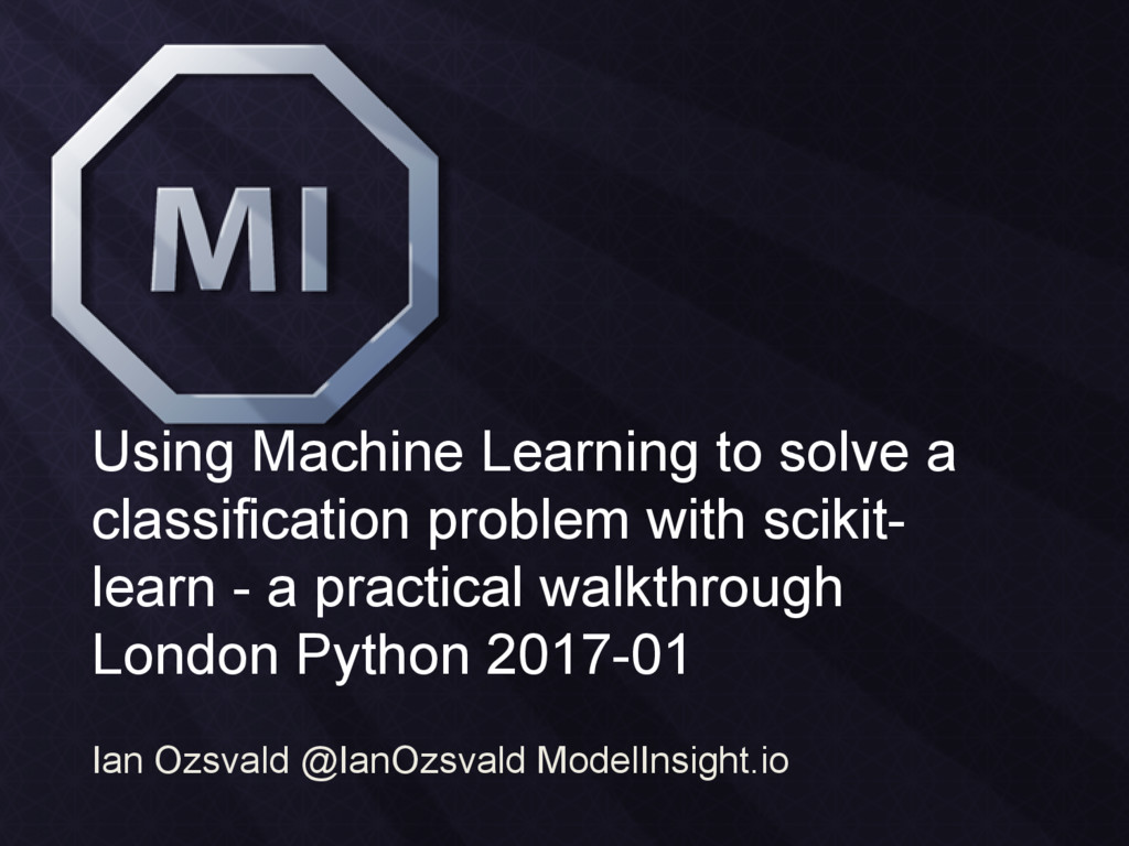 Using Machine Learning to solve a classificatio...