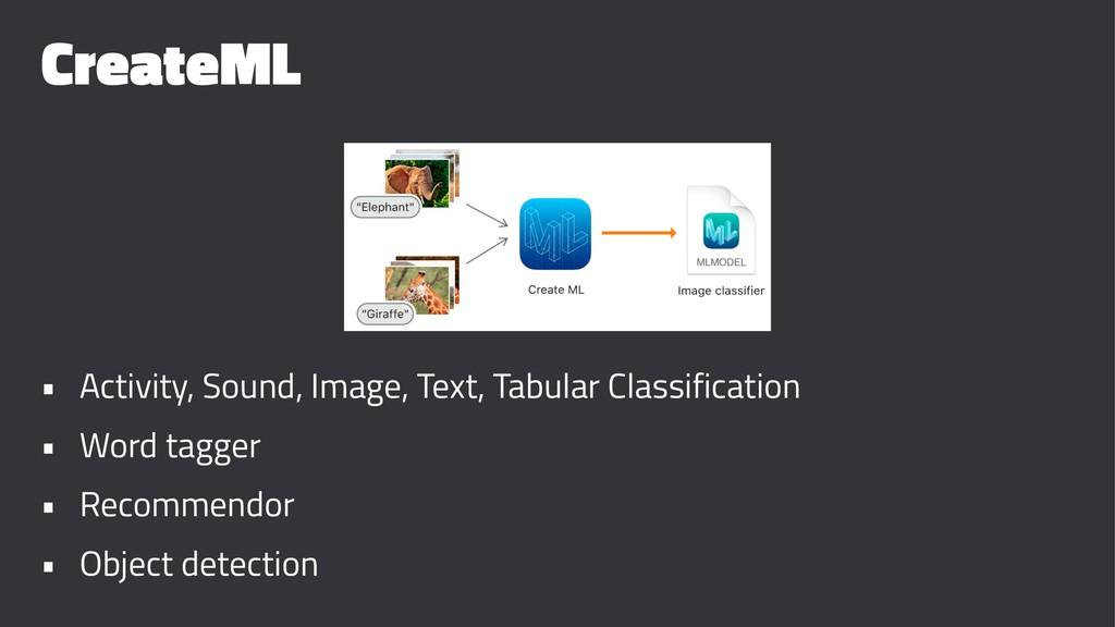CreateML • Activity, Sound, Image, Text, Tabula...