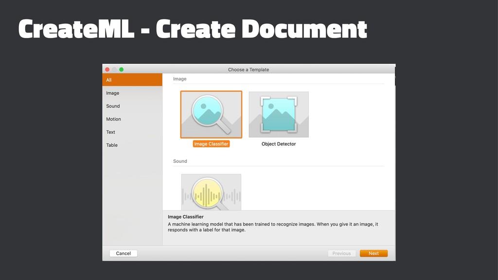 CreateML - Create Document