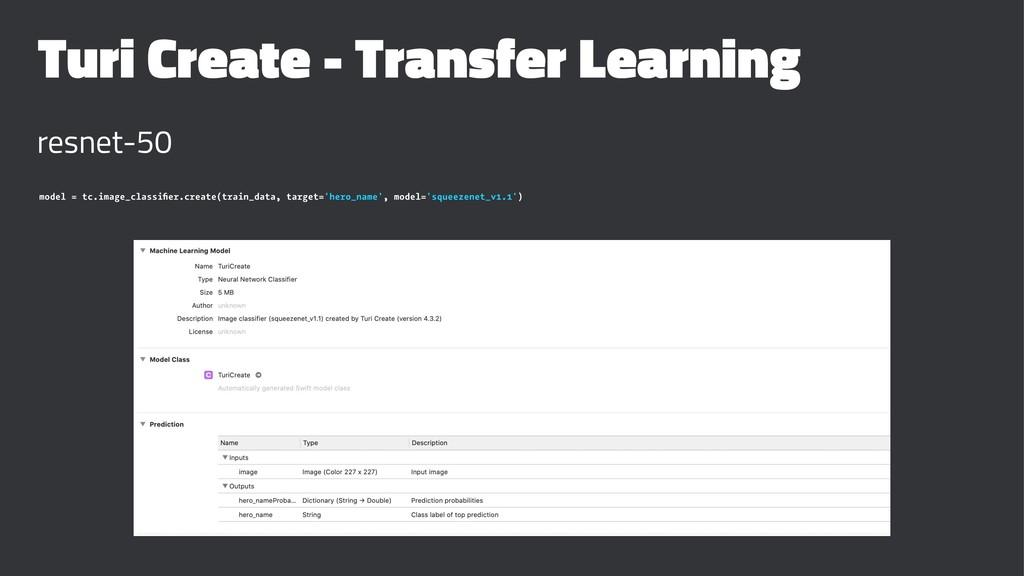 Turi Create - Transfer Learning resnet-50 model...
