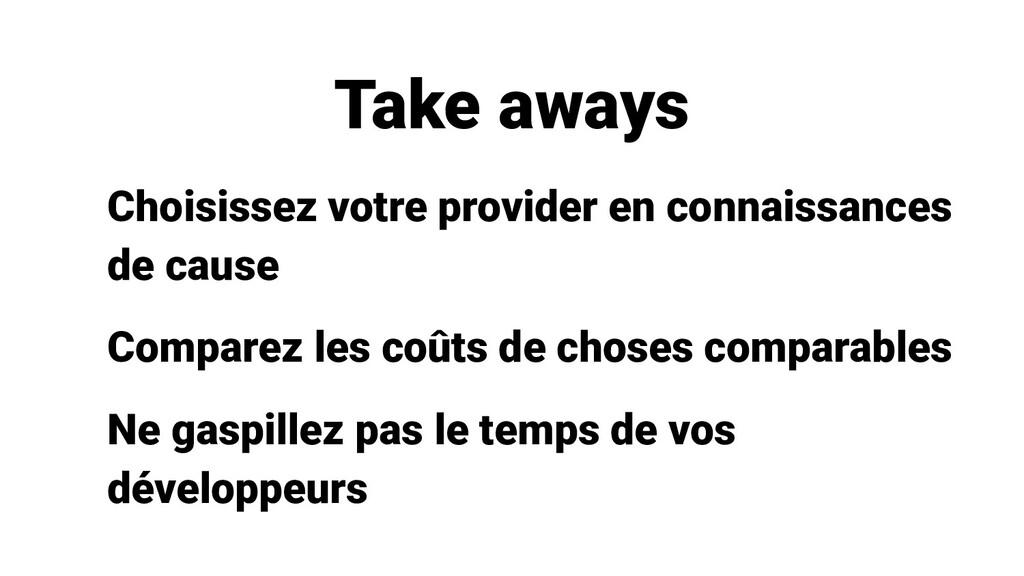Take aways Choisissez votre provider en connais...