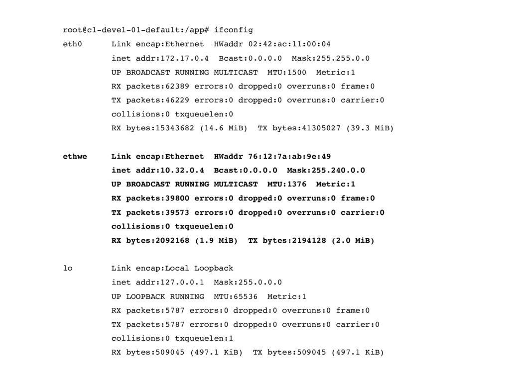 root@cl-devel-01-default:/app# ifconfig eth0 Li...
