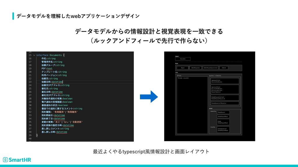 データモデルからの情報設計と視覚表現を一致できる  (ルックアンドフィールで先行で作らない) ...