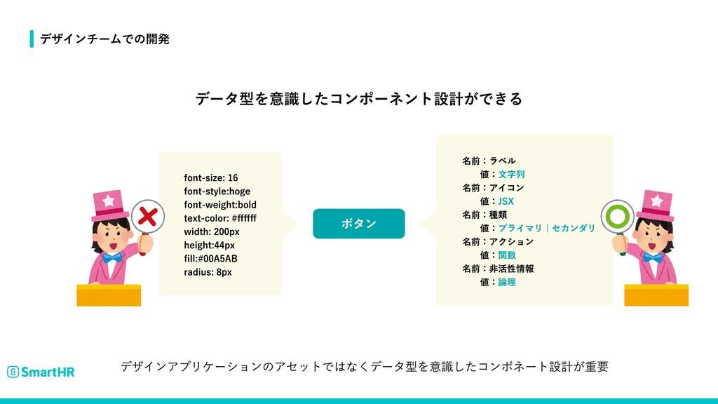 データ型を意識したコンポーネント設計ができる デザインチームでの開発 ボタン font-siz...