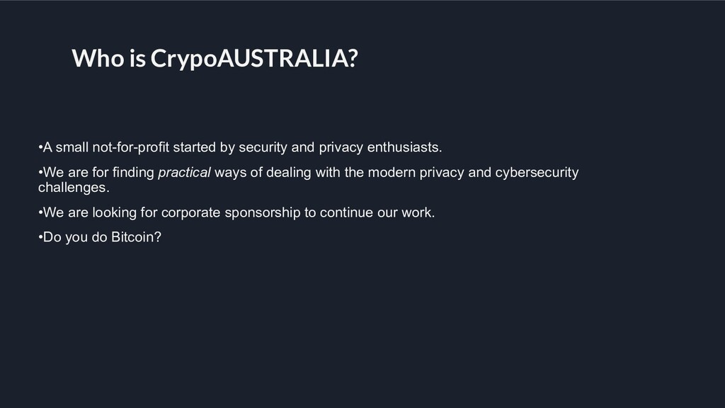 Who is CrypoAUSTRALIA? •A small not-for-profit ...