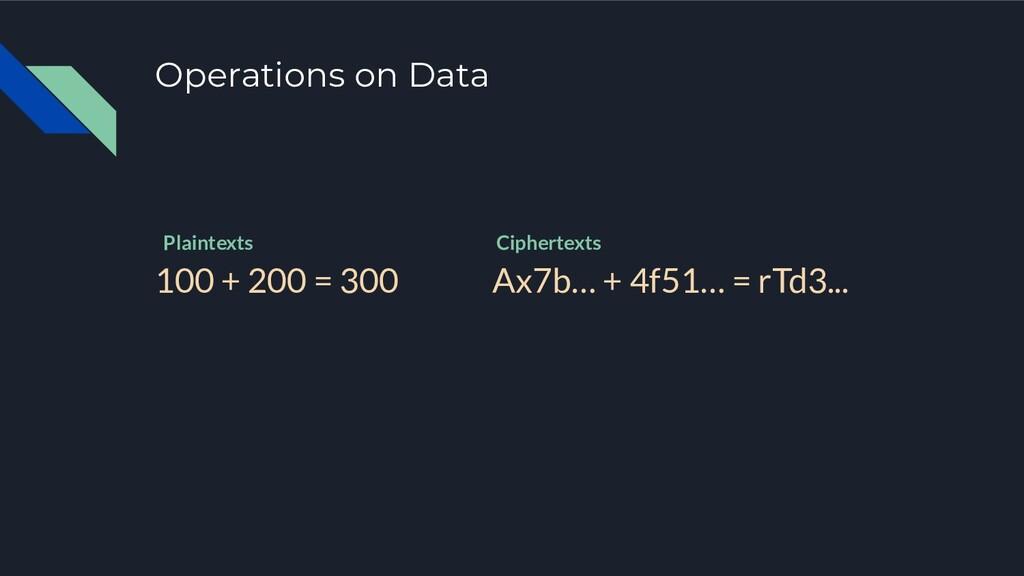 Operations on Data 100 + 200 = 300 Ax7b… + 4f51...