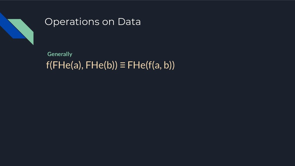 Operations on Data f(FHe(a), FHe(b)) ≡ FHe(f(a,...