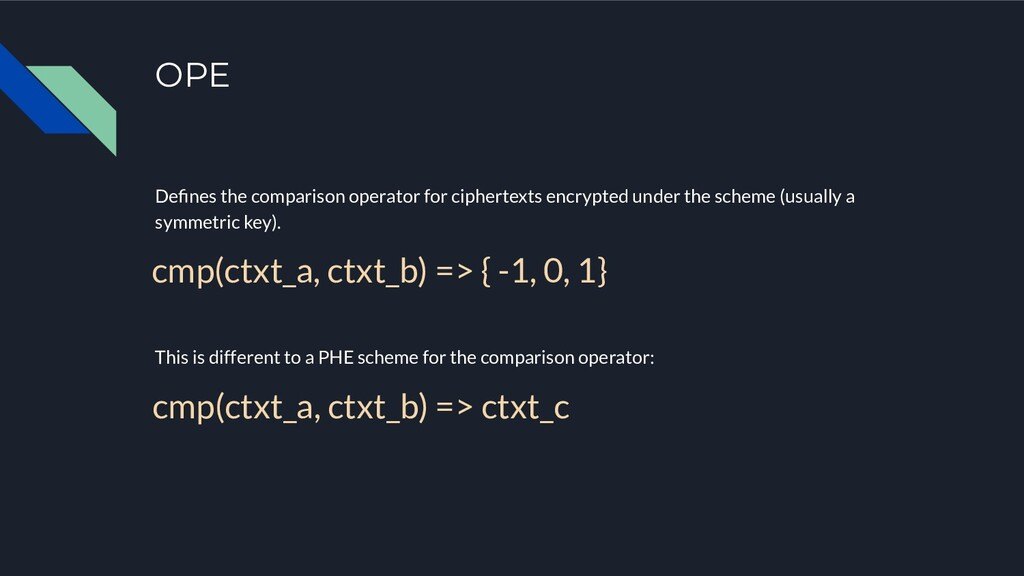 OPE Defines the comparison operator for cipherte...