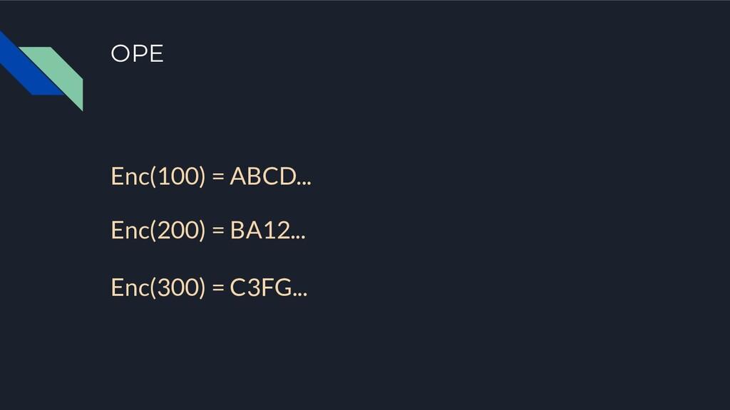 OPE Enc(100) = ABCD... Enc(200) = BA12... Enc(3...