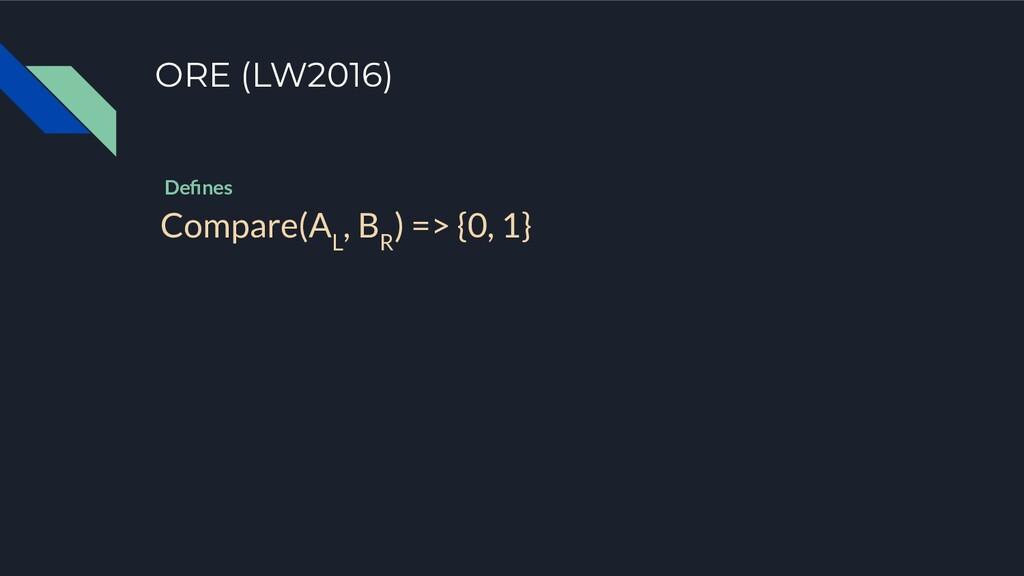 ORE (LW2016) Compare(A L , B R ) => {0, 1} Defin...