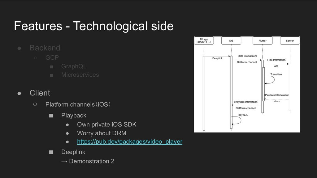 Features - Technological side ● Backend ○ GCP ■...
