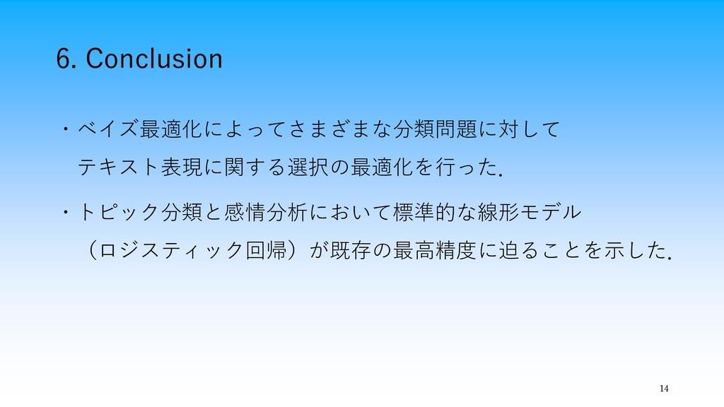 6. Conclusion 14 ・ベイズ最適化によってさまざまな分類問題に対して テキスト表...