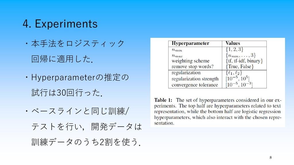 4. Experiments 8 ・本手法をロジスティック 回帰に適用した. ・Hyperpa...