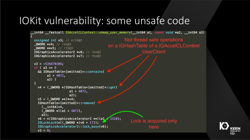 IOKit vulnerability: some unsafe code